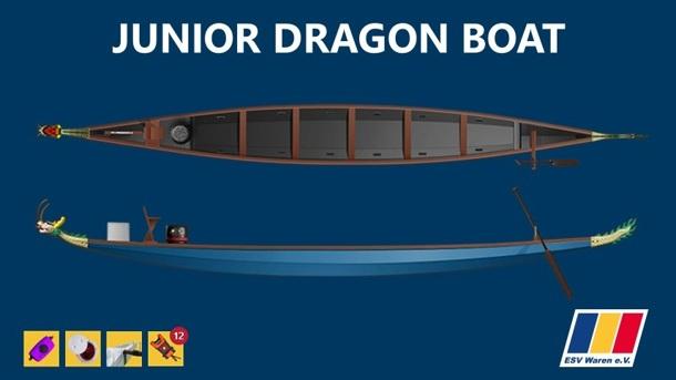 Junior-Drachenboot für Mädchen und Jungen